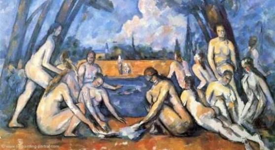 """Cezanne Paul - Cézanne Die grossen Badenden Das Gemälde """"Die großen Badenden, 1906""""Philadelphia Museum von Paul Cezanne als hochwertige, handgemalte Ölgemälde-Replikation. Quelle: www.oel-bild.de."""