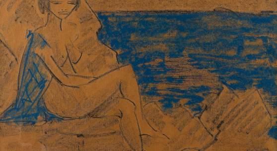 OTTO MUELLER (1874 - 1930), SITZENDER FRAUENAKT AN EINEM GEWÄSSER, Pastellkreide auf bräunlichem Papier. SM 48 x 68 cm. Limit 4.000,- €