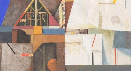 Karl Korab Anbau 2019, Gouache/Collage auf Papier, 29 x 40 cm
