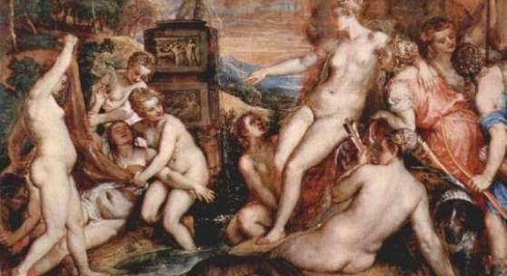 Diese Bilder- Vorlage Diana und Kallisto Von Tizian als hochwertiges, handgemaltes Gemälde. Wir malen Ihr Ölgemälde nach Ihrer Vorlage. Originalformat: 187 x 205 cm Entstanden: 1556-1559