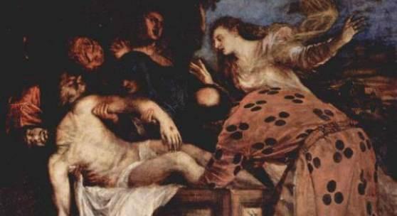 Tizian  Grablegung Christi Renaissance   Diese Bilder-Vorlage Grablegung Christi Von Tizian als hochwertiges, handgemaltes Gemälde. Wir malen Ihr Ölgemälde nach Ihrer Vorlage. Originalformat: 130 x 168 cm Entstanden: um 1566