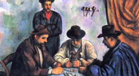"""Cezanne, Paul  Kartenspieler Impressionismus   Das Gemälde """"Kartenspieler"""" von Paul Cezanne als hochwertige, handgemalte Ölgemälde-Replikation. Originalformat: 65 x 81 cm. Quelle: www.oel-bild.de."""