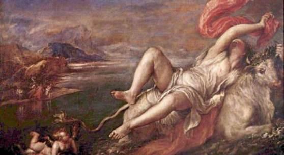 Diese Bilder-Vorlage Raub der Europa Von Tiziano als hochwertiges, handgemaltes Gemälde. Wir malen Ihr Ölgemälde nach Ihrer Vorlage. Originalformat: 185 x 205 cm Entstanden: 1559-1562