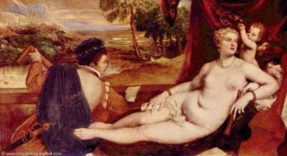 Tizian  Venus und der Lautenspieler Renaissance   Diese Bilder-Vorlage Venus und der Lautenspieler Von Tizian als hochwertiges, handgemaltes Gemälde. Wir malen Ihr Ölgemälde nach Ihrer Vorlage. Originalformat: 157 x 205 cm Entstanden: um 1560