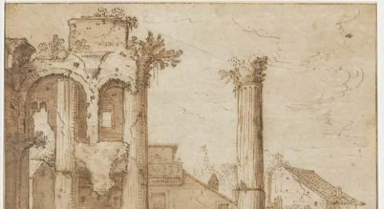 Gezicht op de ruïnes op het Forum van Nerva in Rome, Pieter Lastman