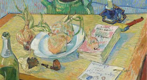 Bild: Vincent van Gogh, Stillleben mit Zeichenbrett, Pfeife, Zwiebeln und Siegellack, 1889, Sammlung Kröller-Müller Museum, Otterlo