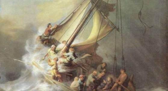 """Rembrandt Bilder, Christus im Sturm auf dem See Genezareth, 1633, Boston, Isabella Stewart Gardner Museum. In den ersten Jahren nach seiner Übersiedelung in die Grachtenstadt widmete sich Rembrandt überwiegend Bildnissen und biblische Themen, die er meisterhaft in der Tradition der """"Leidener Schule"""" ausführte. Quelle: www.oel-bild.de"""