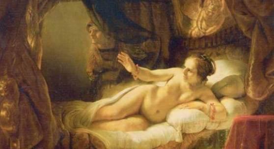 Rembrandts Werke, Danae 1636-54 , Das Bild wurde von Rembrandt 1636 begonnen und mehrmals überarbeitet. Lange Zeit galt das Gemälde als vollständig verloren, nachdem ein Mann das Bild mit einem Fläschen Säure stark beschädigt hatte. Nach jahrelangen Renovierungsarbeiten gelang es jedoch das Werk wieder herzustellen und seit 1998 ist es wieder zu besichtigen. Quelle: www.oel-bild.de