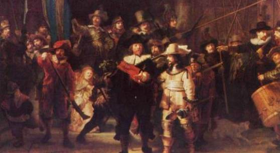 Rembrandt Nachtwache 1642. In Rembrandt Bild zählt man 28 Erwachsene und drei Kinder. Die Anwesenheit des blonden Mädchens in hell erleuchtetem Kleid, an dessen Gürtel ein Huhn befestigt ist, mag sybolischer Natur sein: Die deutlich hervorgehobene Klaue war eines der Gildeebleme. Quelle: www.oel-bild.de