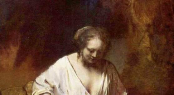 Biographie Rembrandts Bild, Badende Frau, Das Bildnis galt lange fälschicherweise als unvollendet. Quelle: www.oel-bild.de