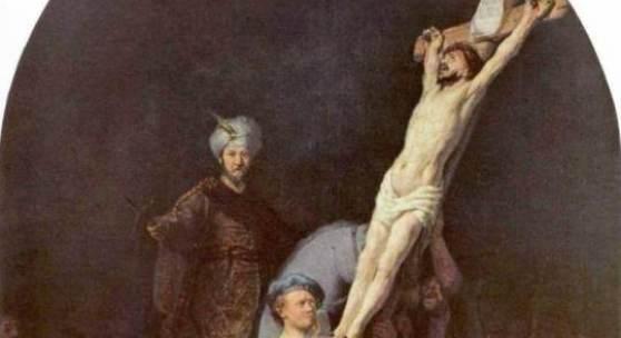 Gemälde Rembrandt, Die Kreuzaufrichtung Christie. Es handelt sich hier um das erste von fünf Werken, in denen sich Rembrandt der Passion Christi widmete. Die zwischen 1633 und 1639 entstandene Bildergruppe befindet sich heute in der Alten Pinakothek in München. Quelle: www.oel-bild.de