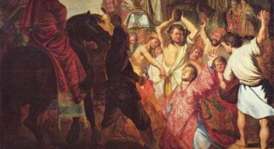 Rembrandt Werke, Steinigung des Heiligen Stephanus, 1625 Quelle: www.oel-bild.de