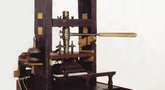 """""""Klarissa"""": Älteste hölzerne Buchdruckerpresse im deutschsprachigen Raum, Brixen, um 1550/60, Leihgabe Druckerei A. Weger, Brixen  © Druckerei Weger"""
