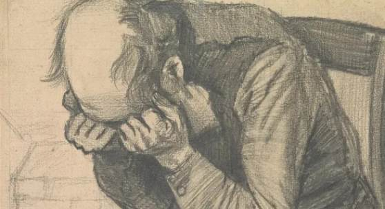 Vincent van Gogh, 'Study for 'Worn Out'', around 24 November 1882, pencil on paper, 48.8 x approx. 30 cm. (Private collection).