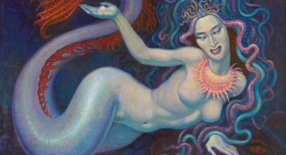 620 Künstler des 20. Jh. Unleserl. monogr. Fabelwesen mit Medusenkopf und Meerjungfrauenkörper. Öl/Lwd. 60,5 x 80,5 cm. R. Rgb.* Ausruf: 2.300 € Ergebnis: 7.500 €