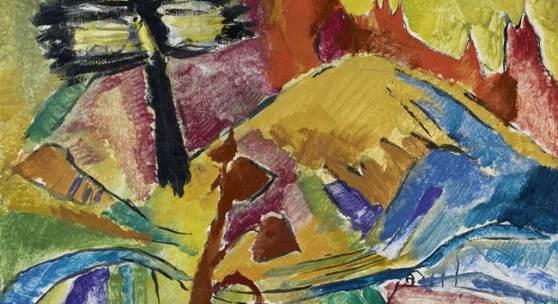 """Max Weiler """"Landschaft mit auffliegender Elster"""", 1952"""
