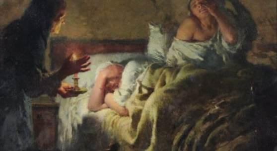 """002   Étienne Alphonse Dinet """"Die Alte und die beiden Mägde"""". 1888. 12000 €"""