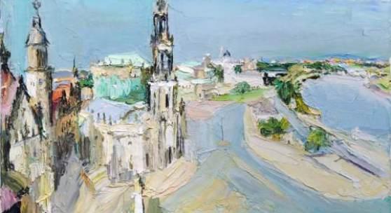 """Siegfried Klotz """"Dresden (vom Ständehaus elbabwärts gesehen)"""". 1997. 7200 €"""