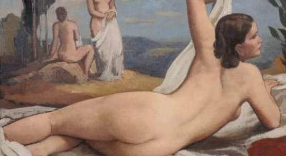 Johannes Beutner, Liegender weiblicher Rückenakt (Hilde). 1947. Schätzpreis: 14000 €