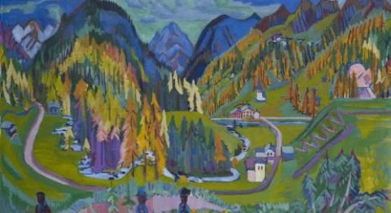 Ernst Ludwig Kirchner, Sertigtal im Herbst, 1925/26, Öl auf Leinwand, 136 × 200 cm © Kirchner Museum Davos, Schenkung Erbengemeinschaft Amstad, 2000