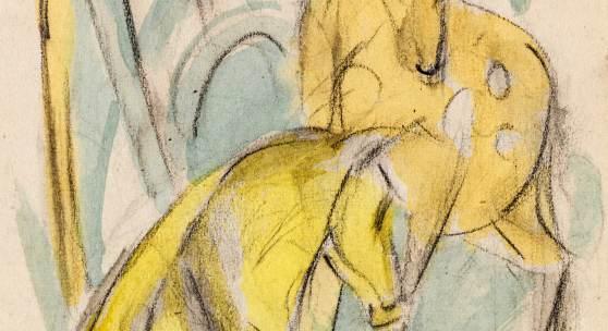367 Franz Marc Zwei gelbe Tiere (Zwei gelbe Rehe), 1912/13. Aquarell und Bleistift Schätzpreis: € 200.000 - 300.000
