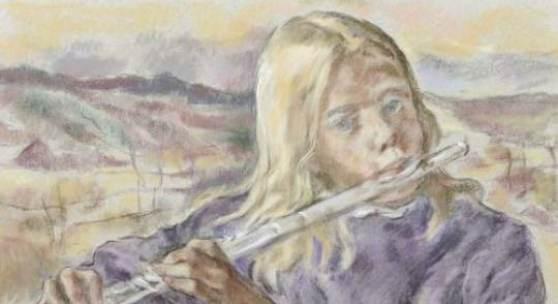 """Lotte Laserstein """"[Querflöte] Spielendes Mädchen (Louise Haag)"""". 1982. 46,3 x 60,7 cm, Ra. 56 x 70,5 cm.4800 €"""