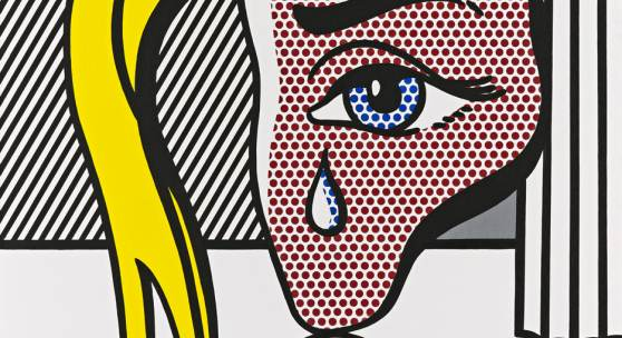 Roy Lichtenstein, Girl with Tear III, 1977; Öl und Magna auf Leinwand, 117 x 101,5 cm; Fondation Beyeler, Riehen/Basel, Sammlung Beyeler; © Estate of Roy Lichtenstein / 2019, ProLitteris, Zürich / Foto: Robert Bayer
