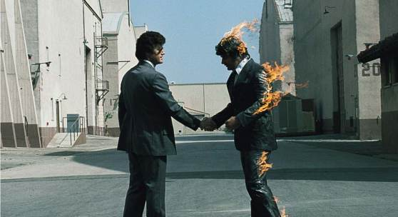"""Wish you were here"" album cover © Pink Floyd, image of ltd. Edition prints, designed by Aubrey Powell, Storm Thorgerson [Hipgnosis]. Courtesy: Browse Gallery"