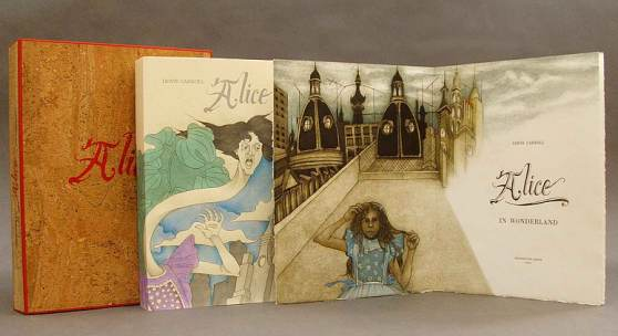 Priscilla Juvelis Inc. Booth Ediciones Dos Amigos edition (long out of print) of Lewis Carroll's ALICE IN WONDERLAND with engravings by Alicia Scavino, from an edition of 25 copies.