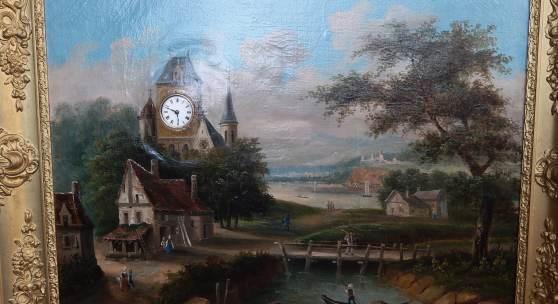 """Bilderuhr mit Musikspielwerk """"Romantische Landschaft"""",Öl a.Lw.,signiert J.de le Vallez"""