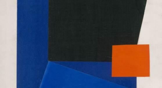 Hermann Glöckner, Rot über Schwarz und Blau, 1932 Doppelseitige Tafel 498 x 350 mm Seite A: Collage, Papier, Pappkörper 2017 erworben mit Unterstützung der Ernst von Siemens Kunststiftung, München