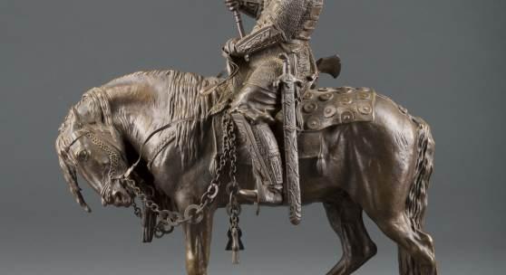 Evgeni Alexandrovich Lanceray (1848-1886), Krieger zu Pferd, Bronze, H. 40,8 cm