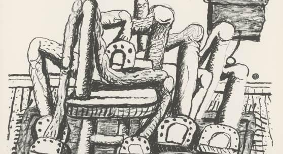 Philip Guston, Room, 1980, Lithographie, 832 x 1080 mm, Privatsammlung  Foto: Staatliche Graphische Sammlung München © The Estate of Philip Guston, New York