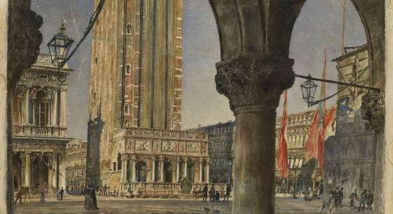 Rudolf von Alt (1812-1905) Venedig, Blick durch die Arkaden des Dogenpalastes auf den Campanile und die Loggetta del Sansovino, 1874, Aquarell, 345 x 490 mm  © Staatliche Graphische Sammlung Munich