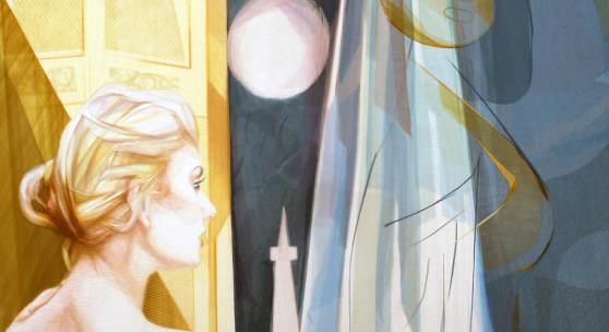 Monika Thiele: Draußen suchst du dich hinter dem Draußen, 2016, Garn auf Organza, 160 x 180 cm