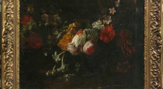 - Gaspar Peeter II Verbruggen (1664-1730), Blumengirlande um ein barockes Steinpodest gelegt, Öl/Lw., 46 x 57 cm, Zuschlag inkl. Aufgeld 4000 €