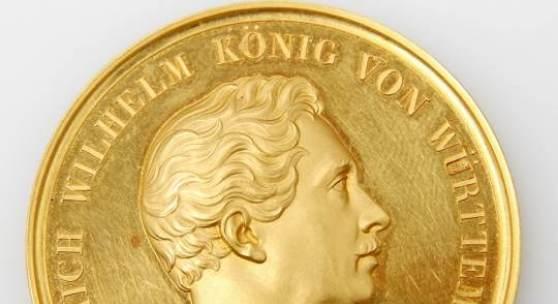 Württemberg - Wilhelm I., 1816-1864. Große GOLDENE Preismedaille für Kunst und Wissenschaft 1824.