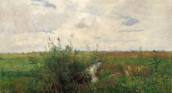 Paul Baum, Weite Wiesenlandschaft mit kleinem, schilfbewachsenen Bachlauf. 1889. 56,5 x 80,2 cm, Ra. 85,4 x 108,5 cm.12000 €