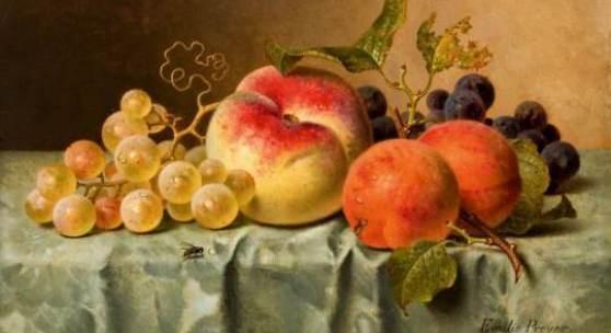 Emilie Preyer Stillleben mit Pfirsich und Aprikosen.