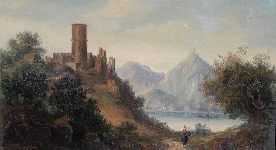 Blick auf die Godesburg und den Drachenfels