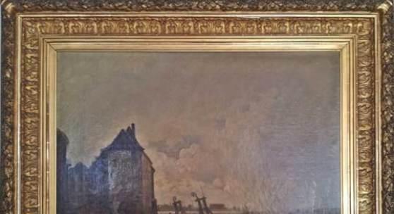 """Viggo Fauerholdt (1832-1883)""""Rheinhochwasser, 1882"""" Öl/Lw,  96x110cm,  signiert und datiert unten links  """"Wiggo Fauerholt 1882 Dss"""""""