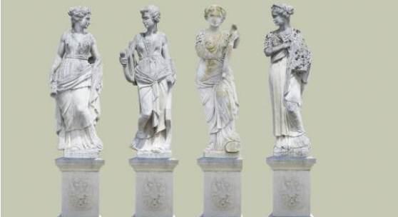 Lot Nr. 137  Seltene Serie der 9 Musen,  Sandstein naturalistisch behauen, 19. Jh., auf Sockeln, Ausschartungen, kleine Teile fehlen, altersbedingte Witterungsspuren, Höhe jeweils 160 - 165 cm, Sockel jeweils ca. 75 cm. (DOC)  Schätzpreis EUR 85.000,- bis 95.000,