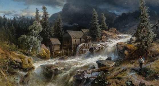 36 - Hermann Ottomar Herzog Norwegische Landschaft mit aufkommendem Gewitter. Katalogpreis: 9.000 - 12.000 €