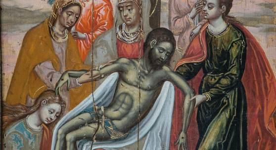 769 - TAFELBILD: PIETÀ MIT ENGELN Auktion: 239 - Kunst & Antiquitäten Norditalien, Venetien, 16. Jh. Katalogpreis: 12.000 - 15.000 €