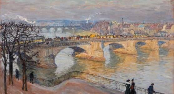 326  Fritz Beckert, Dresden - Blick von der Brühlschen Terrasse auf die Augustusbrücke. 1916. Schätzpreis: 8.500 - 10.000 €