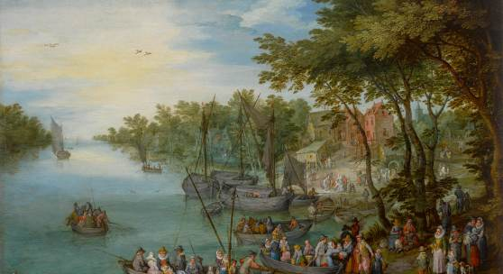 Jan Brueghel the Elder A Wooded River Landscape With A Landing Stage, Boats, Various Figures And A Village Beyond Estimate $2.5/3.5 million