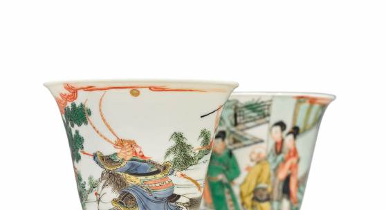ot 504 Property from the Cook Family Collection A Rare Pair of Famille-Verte 'Western Chamber' Cups Kangxi Marks and Period Height 3 in., 7.6 cm Estimate $100/150,000 Sold for $1,155,000