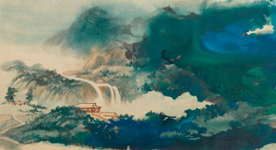 Zhang Daqian Water and Sky Gazing After Rain in Splashed Color Ink and color on paper, horizontal scroll 100.5 by 192.3 cm., 39 1/2 by 75 3/4 in. Estimate $1.2/1,8 million Sold for $6,550,400