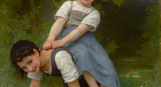 Lot 24 Works Of Art Sold To Benefit The Berkshire Museum William Bouguereau La bourrique (The Pony-Back Ride) signed W-BOUGUEREAU- and dated 1884 (lower right) oil on canvas 53 3/4 by 39 7/8 in. 136.5 by 101.3