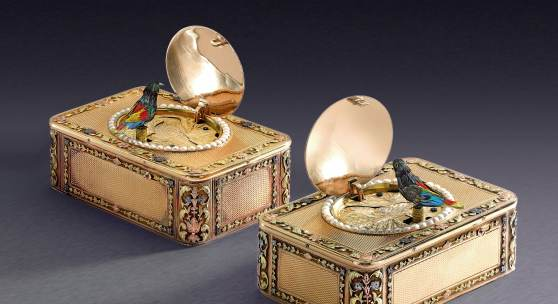 Lot 134 Frères Rochat An Impressive And Rare Consecutively Numbered Pair Of Four-Color Gold And Pearl Singing Bird Snuff Boxes For The Chinese Market Circa 1820 Estimate $300/500,000 Sold for $519,000